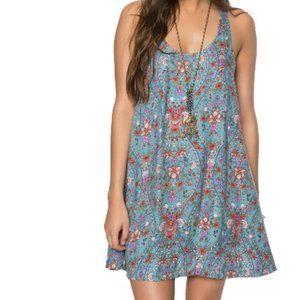 O'Neill Lace Up Boho Swing Dress Floral Medium